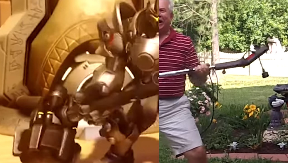 Padre de Nick Luciano imitando a un personaje de Overwatch