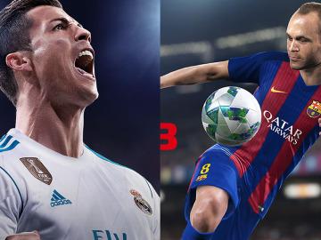 Portadas de FIFA 18 y PES 2018