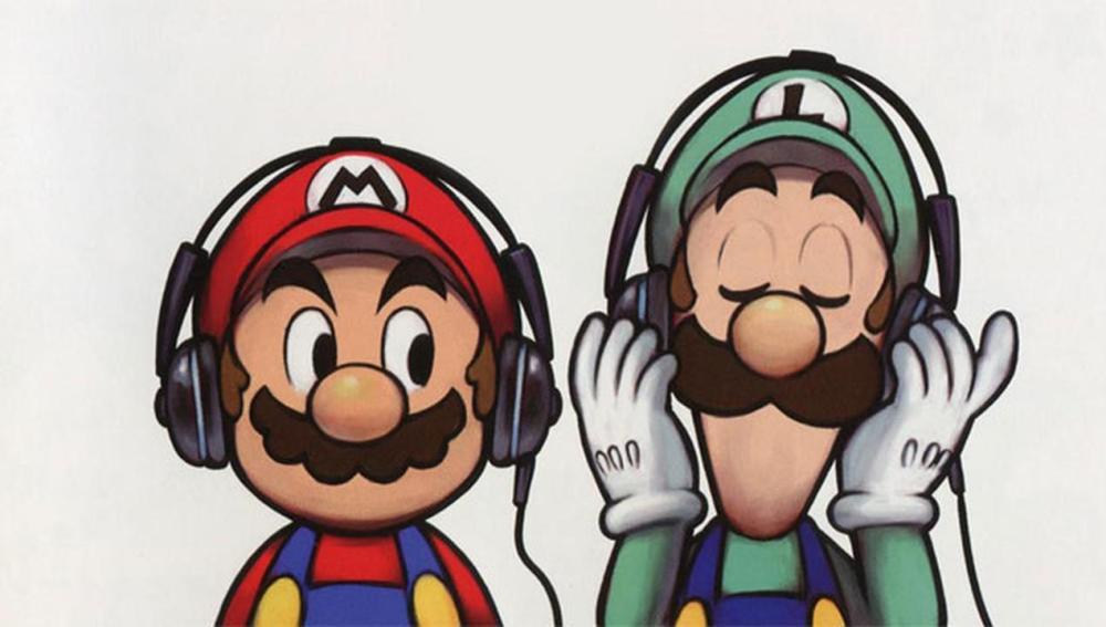 Mario y Luigi con auriculares